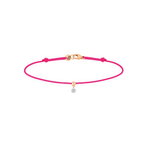 Bracelet BB Diamant Brillant Cordon Rose Fluo Or Rose