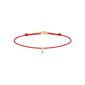 Bracelet BB Diamant Brillant Cordon Rouge Or Blanc