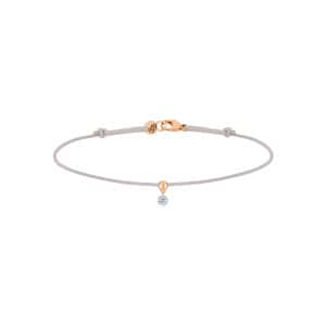 Bracelet BB Diamant Brillant Cordon Gris Or Rose