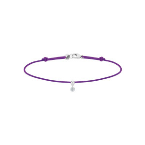 Bracelet BB Diamant Brillant Cordon Violet Or Blanc