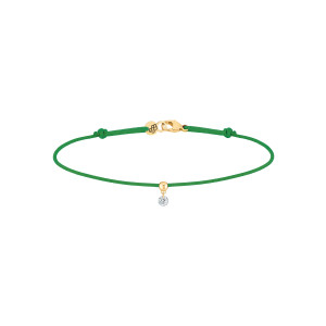 Bracelet BB Diamant Brillant Cordon Vert Or Jaune