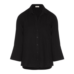 Chemise Split Tail Button Down Noir