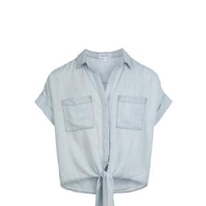 Chemise Capsleeve Tie Front Shirt Desert Sky