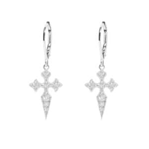 Boucles d'oreilles Dormeuses Blood Diamond||Or blanc