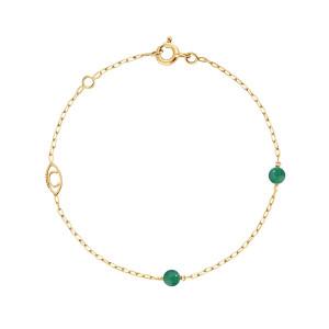 Bracelet Massilia Agate Verte Or Jaune