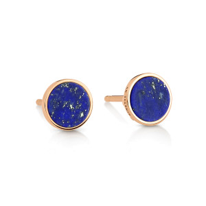 Boucles d'oreilles Ever Disc Or Rose Lapis Lazuli