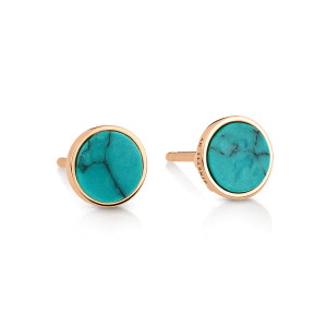Boucles d'oreilles Ever Disc Or Rose Turquoise