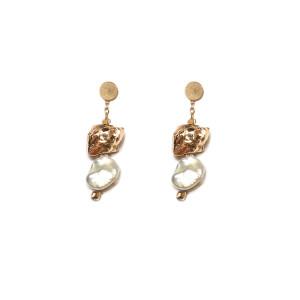 Boucles d'oreilles Perle Blanche XS Argent Doré