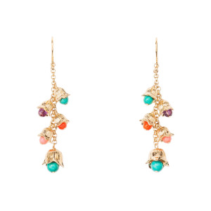 Boucles d'oreilles Lily Of The Valley GM Turquoise Plaqué Or