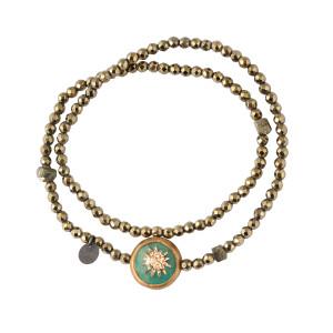 Bracelet Soleil Double Hématite Kaki 1 Turquoise