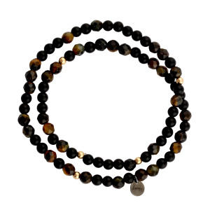 Bracelet 4 Double Perles Onyx Œil de Tigre