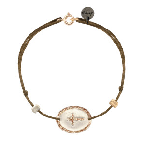 Bracelet Ovale Croix Argent Blanc Cordon Taupe