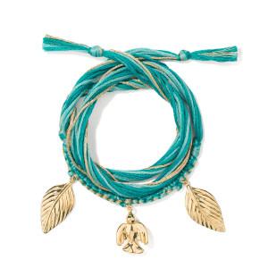 Bracelet Honolulu Charms Colombe Vert Plaqué Or