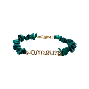 Bracelet Amour Malachite Gold Filled