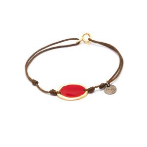 Bracelet Cordon Lumy Médaille M Rouge