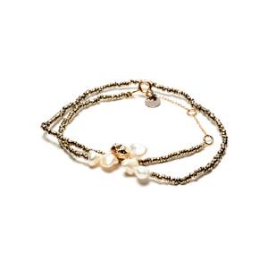 Bracelet Double Perle Blanche Hématite Kaki Argent Doré