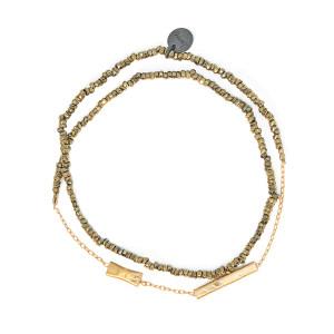 Bracelet Double Graphik Stone Argent Doré Kaki