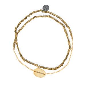 Bracelet Double Graphik Stone Médaille Argent Doré Kaki