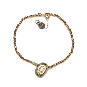 Bracelet Minéral Hématite Turquoise Argent Doré
