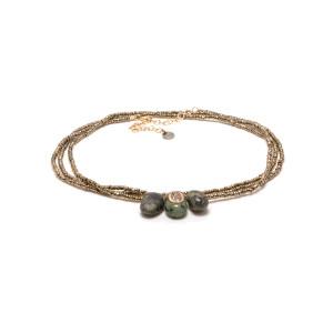 Bracelet Multi-tour Minéral Hématite Turquoise Argent Doré