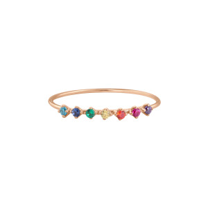 Bague Stardust Rainbow Or Rose Pierres Multicolores