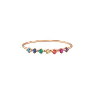 Bague Stardust Rainbow Or Rose Pierres Multicolores