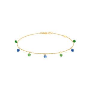 Bracelet Confetti 7 Rio Saphirs Bleus Tsavorites Or Jaune