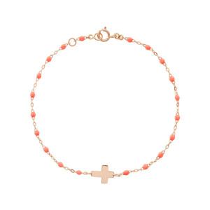 Bracelet Croix Perles Résine Or
