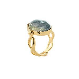 Bague Cabochon Ovale Cristal de Roche Bleu Denim
