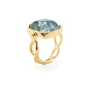 Bague Cabochons Ovale Cristal de Roche Bleu Denim