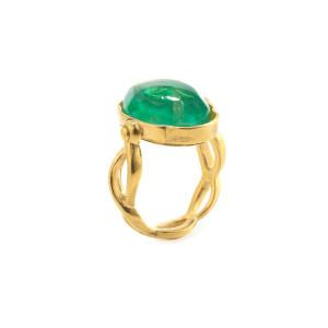 Bague Cabochon Ovale Cristal de Roche Vert Émeraude