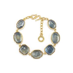 Bracelet Cabochons Cristal de Roche Bleu Denim