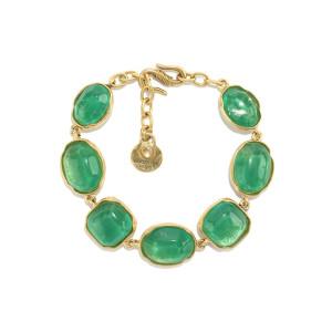 Bracelet Cabochons Cristal de Roche Vert Émeraude