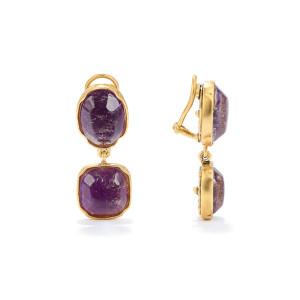 Boucles d'oreilles Cabochons Cristal de Roche Violet Améthyste