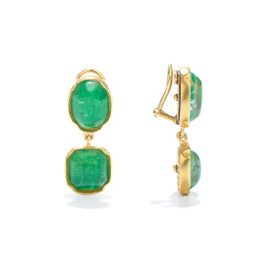 Boucles d'oreilles Cabochons Cristal de Roche Vert Émeraude