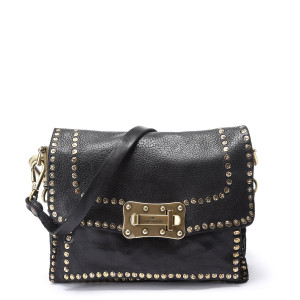 Sac Crossbody Small Cuir Vachette Clous Noir