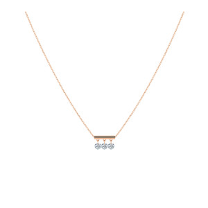 Collier Pampilles 3 Diamants Brillants Or Rose