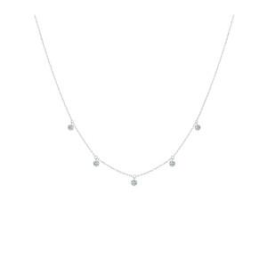 Collier 360° 5 Diamants Brillants Or Blanc