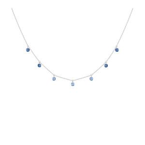 Collier Confetti 7 Saphirs Bleus Or Blanc