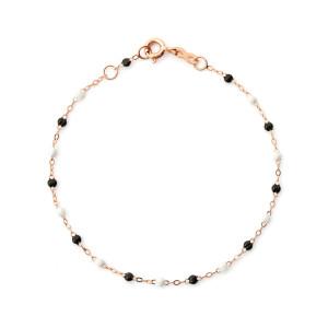 Bracelet Perles Résine Noir Blanc Or Rose, Exclusivité Lulli