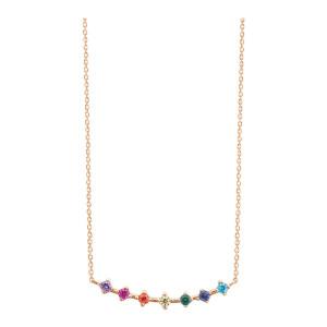 Collier Stardust Rainbow Or Rose Pierres Multicolores