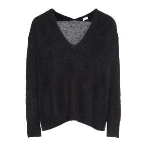 Pull Col V Laine Raccoon Gris