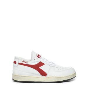 Baskets Mi Basket Row Cut Cuir Blanc Rouge