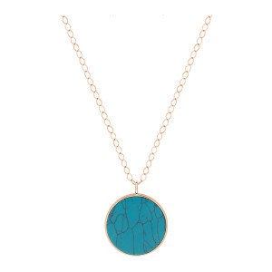 Collier Ever Disc Jumbo Or Rose Turquoise