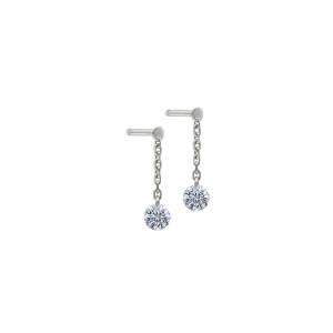 Boucles d'oreilles 360° Diamant Brillant Or Blanc