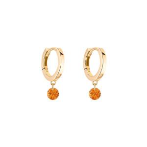 Mini Créoles Confetti Saphir Orange Or Jaune