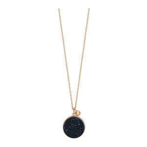 Collier Ever Blue Sand Stone Disc Or Rose