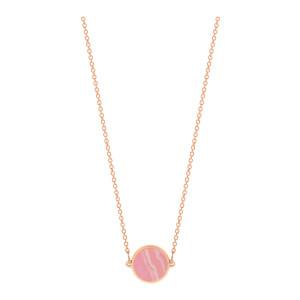 Collier Ever Mini Disc Rhodocrosite Or Rose