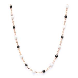Collier Perles Résine Noir Blanc Or Rose, Exclusivité Lulli