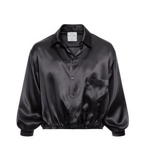 Chemise Courte Soie Noir
